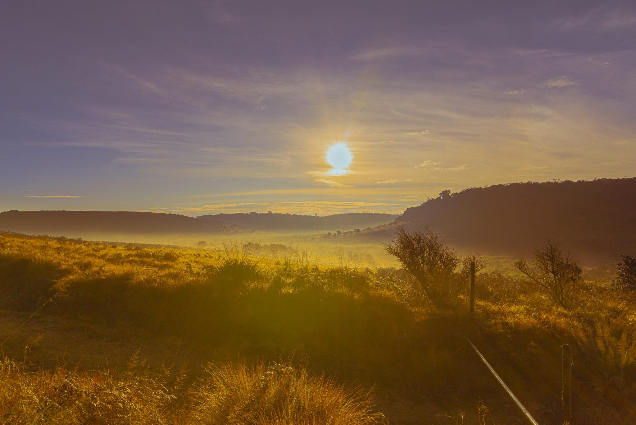 Sonnenaufgang über dem Hochland von Horton Plains